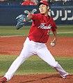 20130908 Kyohei Nakamura, pitcher of the Hiroshima Toyo Carp, at Yokohama Stadium.JPG