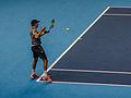 2014-11-12 2014 ATP World Tour Finals Bob Bryan returning by Michael Frey.jpg