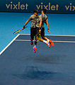 2014-11-12 2014 ATP World Tour Finals Bob an Mike Bryan celebrating victory 1 by Michael Frey.jpg