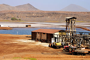 Salt evaporation pond - Natural salt evaporation ponds at Pedra de Lume, Sal island, Cape Verde