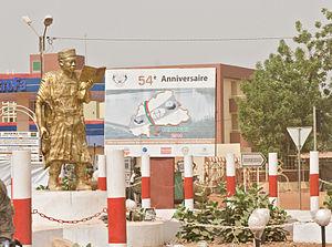 Dédougou - Image: 2015.03 427 032app monument(for politician and writer Nazi BONI),reading Dédougou,BF thu 05mar 2015 1032h