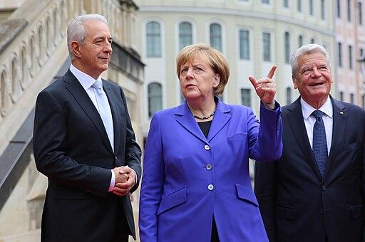 2016-10-03 Stanislaw Tillich, Angela Merkel, Joachim Gauck (Tag der Deutschen Einheit 2016 in Dresden) by Sandro Halank