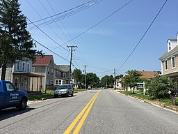 2017-08-21 13 58 11 View west along Maryland State Route 821 (Main Street) at Railroad Avenue in Marydel, Caroline County, Maryland.jpg