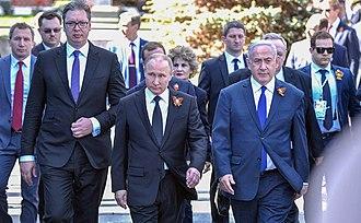Aleksandar Vučić - Vučić with Russian President Vladimir Putin and Israeli Prime Minister Benjamin Netanyahu during the Moscow Victory Day Parade on 9 May 2018