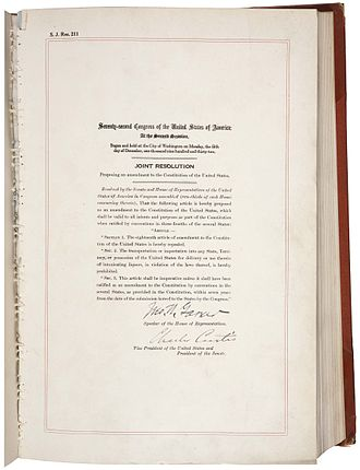 Twenty-first Amendment to the United States Constitution - Amendment XXI in the National Archives
