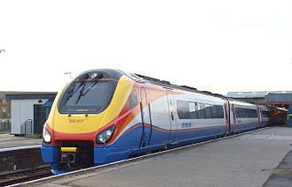 Midland Mainline - An East Midlands Trains liveried Class 222 ''Meridian'' at Derby