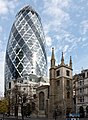 30 St Mary Axe (Swiss Re Building) and St Andrew Undershaft church.jpg