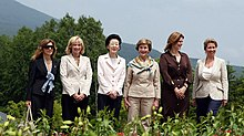 Brown with other leader spouses at the 34th G8 summit (2008)