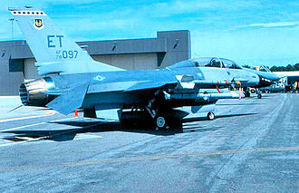 39th Flying Training Squadron - General Dynamics F-16B Block 1 Fighting Falcon – 78-0097 when assigned to the 39th TS at Eglin AFB, about 1995. The oldest active F-16 in the USAF inventory, originally delivered to the 388th TFW, Hill AFB in 1979