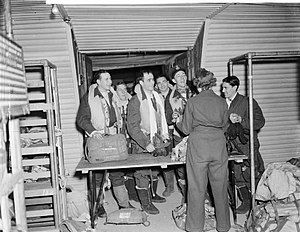 No. 51 Squadron RAF - 51 Squadron Halifax crew hand in their parachutes after a raid on the Ruhr
