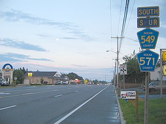 County Route 571 (New Jersey) - CR 549 Spur and CR 571 southbound in Toms River.