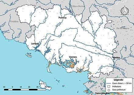 Carte Bretagne Cours Deau.Liste Des Cours D Eau Du Morbihan Wikipedia