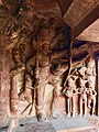 6th century Trivikrama with defaced Vamana legend below in Cave 3, Badami Hindu cave temple Karnataka.jpg
