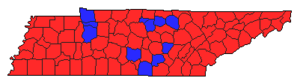 United States Senate special election in Tennessee, 1994 - Image: 94TNSen Special Counties