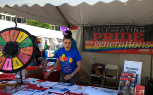 The AARP Booth at the 2017 Boston Pride Festival.