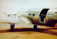 AC-47 gunship - one Gatling gun points out the cargo door, and one each points out of the two windows forward of the door