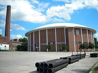 Abraham Lincoln High School (Des Moines, Iowa) - Left: smoke stack; front: Roundhouse Gymnasium