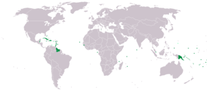 Alliance of Small Island States - AOSIS members in dark green; observers in light green (as of March 2008).