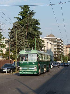 """Trolleybuses in Milan - """"Vibertone"""" no. 548, restored 2009."""