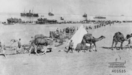 Stores being unloaded and carried to a dump being constructed behind the tent at El Arish. A caravan of loaded camels is in the foreground AWMA01616ECTCElArish.jpg