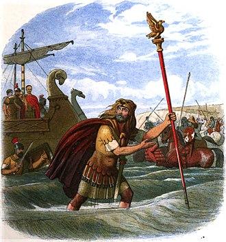 Caesar's invasions of Britain - Illustration of the Romans landing in Britain