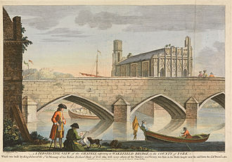 William Henry Toms - A Perspective View of the Chapel Adjoining Wakefield Bridge, coloured engraving, William Henry Toms, 1743.