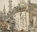 A Temple Showing Remains of a Japanese Lookout Post on the Roof (1945) (Art.IWM ART LD 5096).jpg