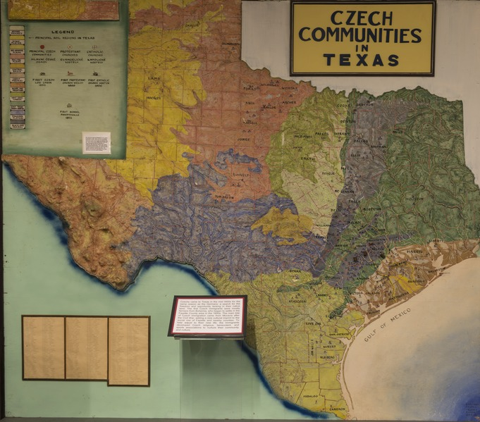 map showing historic czech towns in texas