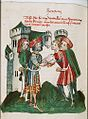 A messenger of Witekin, king of Denmark, declares war to Amilot, king of Norway.jpg