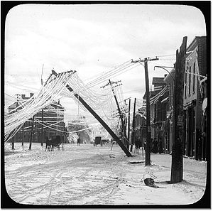 Elora, Ontario - A street in Elora after an ice storm; early 1900s.