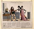 A vaccinated man grows horns in front of a couple with a lan Wellcome V0011697.jpg