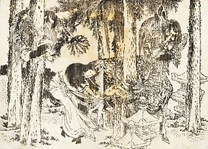 Curse - A woman performs a cursing ritual (Hokusai)