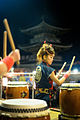 A young female drummer seen during Hadaka Matsuri (-Naked Festival-) festivities in Bitchu Kokubunji temple. Okayama, Okayama Prefecture, Chūgoku region, Japan.jpg