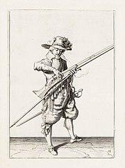 Aanwijzing 14 voor het hanteren van het musket - V lont afneemt (Jacob de Gheyn, 1607)