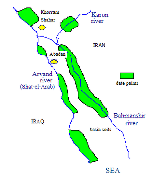 Irrigation in Iran - Fig. 1 Sketch of the Abadan island showing rivers and date palm plantations