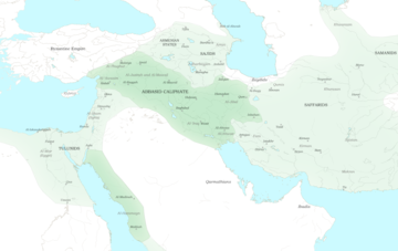 Blank map of the Middle East, with green shaded areas for the Abbasid Caliphate, and the major regions and provinces marked