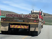 e174bfbd An Abnormal Load sign in the Western Cape, South Africa