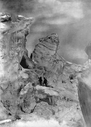 World altitude record (mountaineering) - The Duke of the Abruzzi and guides climbing an icefall on Chogolisa.