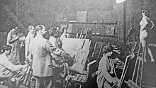 Academie Colarossi life drawing class, 1908