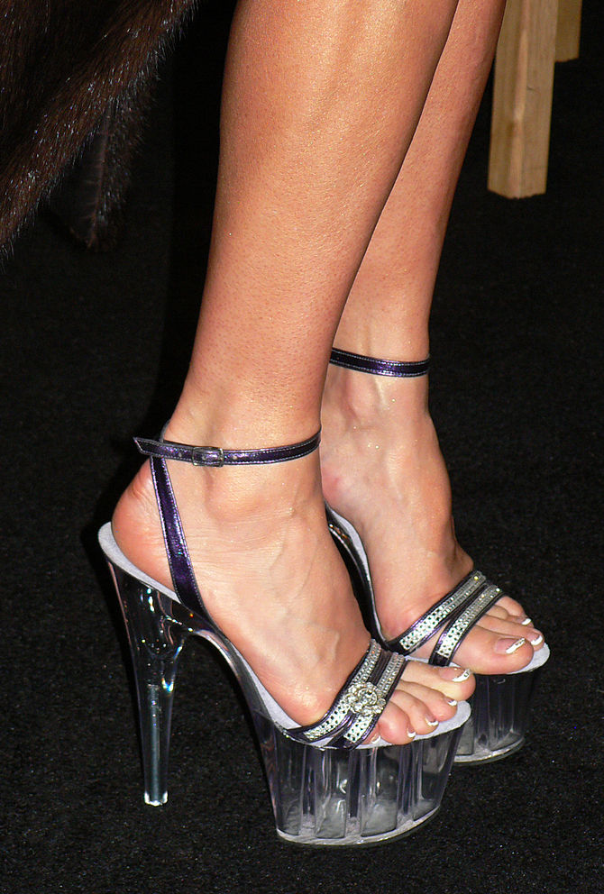 Acrylic platform shoes.