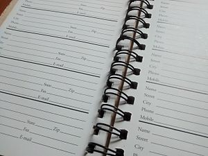 Address book - A blank page in a typical paper address book