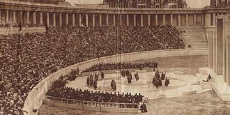 Lewisohn Stadium - Performance of a Greek tragedy during the stadium's dedication on May 29, 1915