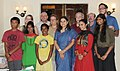 Adopted children from abroad meeting the Union Minister for Women and Child Development, Smt. Maneka Sanjay Gandhi, in New Delhi on July 16, 2014.jpg