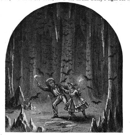 Tom and Becky lost in the caves. Illustration from the 1876 edition by artist True Williams. Adventures of Tom Sawyer-pg248.png