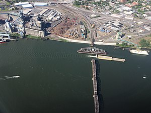 Burlington Northern Railroad Bridge 9.6 - Aerial view in 2016, looking towards Vancouver, with the swing span opened for a barge