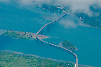 San Juanico Strait - Aerial view of the San Juanico Bridge over the strait