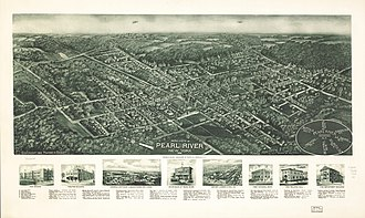 Pearl River, New York - Panoramic map of Pearl River from q1924 with list of landmarks and images of several inset