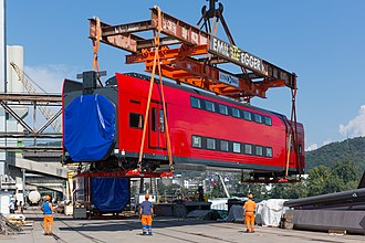 Stadler KISS - Image: Aeroexpress KISS at Auhafen Basel, loading onto barge 2