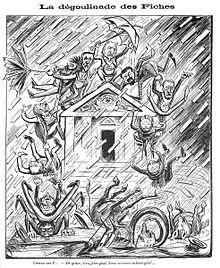Desenho monocromático de uma tempestade de cartas caindo sobre um templo maçônico no qual os membros do gabinete Combes estão.