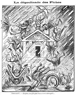 """Affaire Des Fiches - """"La dégoulinade des Fiches"""", anti-masonic caricature by Fertom (1904)."""